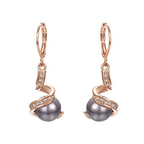 Vissen - Pendientes colgantes con perla cultivada gris de 18 K, chapados en oro, para mujer o niña, regalo