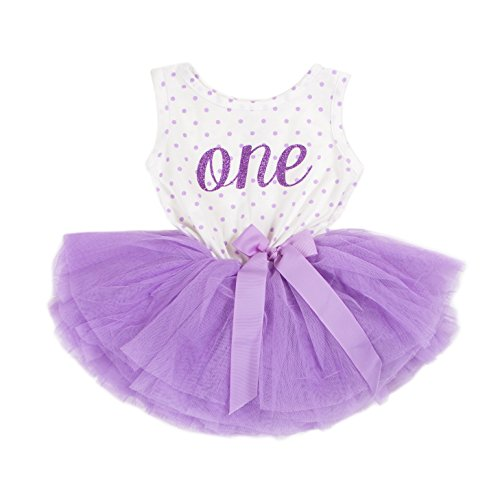 Product Image of the Grace & Lucille Purple Polka Dot Sleeveless Baby Birthday Dress (Purple, 6-12...