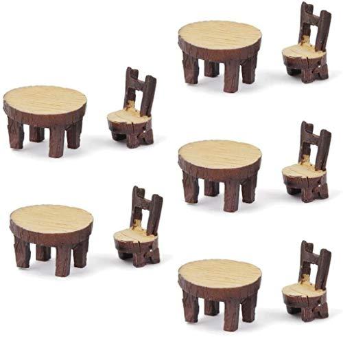 hsj LF- Toy 5 Sets von Miniatur-Fee-Garten Ornamente Harz Stuhl Kleine Bäume Kleine Lernen