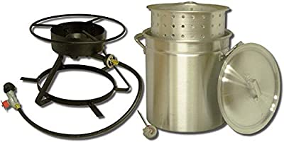 King Kooker 5012A Package Boiling and Steaming, Silver, Balck