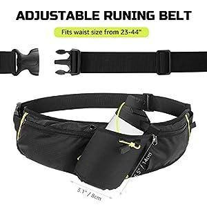 Odoland Running Belt Hydration Waist Pack with Water Bottle Holder for Men Women, Waist Pouch Fanny Pack Bag, Reflective Fits 6.5'' Cellphone, Black