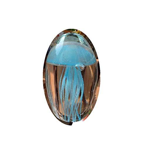 AMITD Farbige handgemachte Glühen Glas Qualle Briefbeschwerer Aquarium Kristall Kunst Handwerk Sammlerstück (Hellblau)