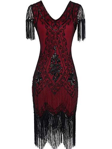 MISSCHEN 1920 Dresses Great Gatsby Dress Themed Roaring 20s Dresses Flapper Dress with Sleeve YLS018 M Wine Black