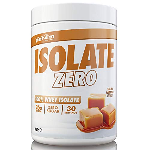 per4m Zero Isolate Whey Protein, Salted Caramel, 30 Servings 100% Whey Isolate Muscle Building Protein