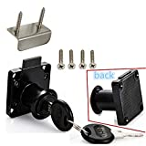 Drawer Lock Letter Box Lock Desktop Lock Door Lock.Suitable for Wooden cabinets.Model CT-138-22, (Opening Diameter 0.75 inch / 19MM) for Door Panels with a Thickness of 17 mm-22 mm. 1pcs [Black]