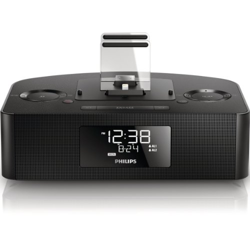 Philips AJ7260D/12 Radio réveil avec Station d'accueil/Double connecteur 30 Broches pour iPod/iPad/iPhone Noir