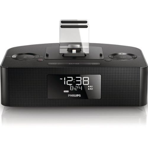 Philips AJ7260D/12 Radiowecker (DualDock für iPod/iPhone/iPad, zwei Alarme, 8 W) schwarz
