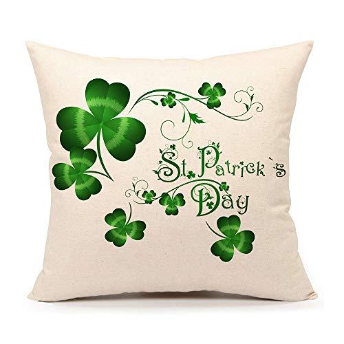 4TH Emotion St. Patricks Day Green Home Decor Throw Pillow Case Cushion Cover 18 x 18 Inch Cotton Linen(Saint Patricks Lucky Clove)