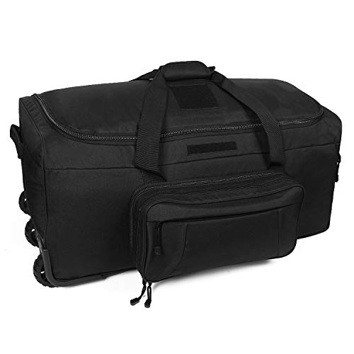XWLSPORT Military Wheeled Deployment Bag Tactical Camo Heavy Duty Duffel Bag Water-Resistant Luggage Bag It's Suitable on Travelling, Camping, Business, Sporting Ect (Black)