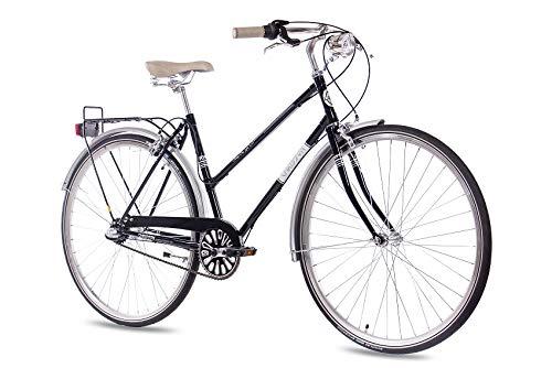 CHRISSON 28 Zoll Damen City Bike - Vintage City Lady schwarz - Old School Damenfahrrad mit 3 Gang Shimano Nexus Nabenschaltung und Rücktrittbremse, Retro Cityfahrrad für Frauen