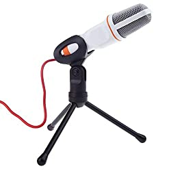 LipiWorld® Condenser Mic 3.5mm Recording Professional Microphone with Tripod Stand for Laptop PC Skype-White,LipiWorld®,Condenser Microphone-White