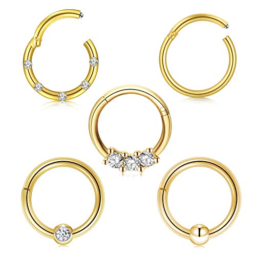 Briana Williams 5pcs Stainless Steel Nose Clicker Ring 16G 10mm Hoop Septum Tragus Cartilage Helix Earring Piercing Ring