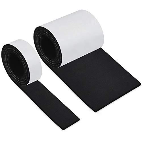 Fieltro Adhesivo Negro, HTBAKOI Fieltro Muebles Suelo 2 Rollos (100*10cm+100*2cm) Cinta Protector Fieltro Adhesivo Corte Libre en Cualquier Forma con Fuerte Adherencia para Muebles Sillas Objetos.etc