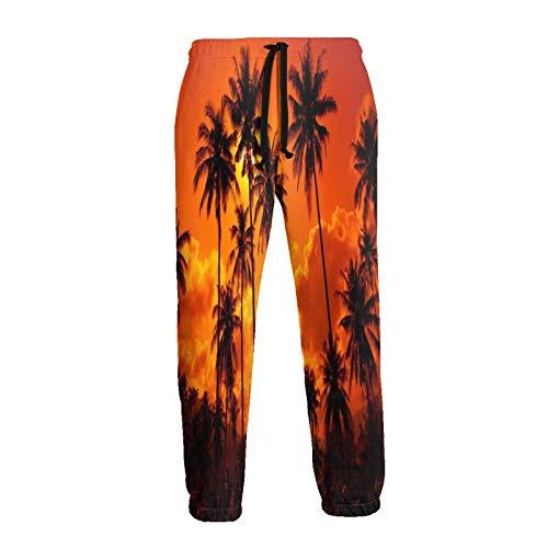 Pantalones de chándal Orange Sky Palm Trees Pantalones de Hombre Pantalones de chándal Holgados de algodón Novedad Pantalones para Diario