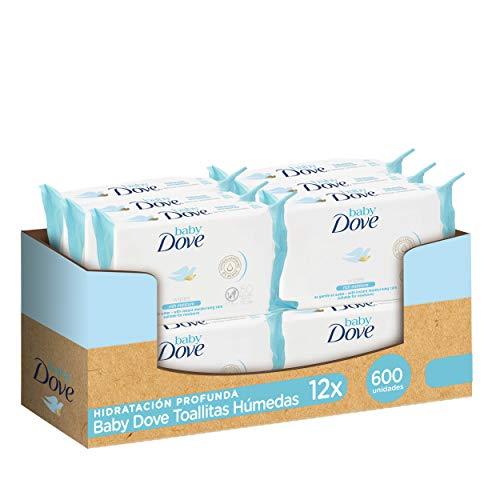 Baby Dove Toallitas húmedas hidratación profunda - Pack de 12 x 50 (Total: 600 toallitas)