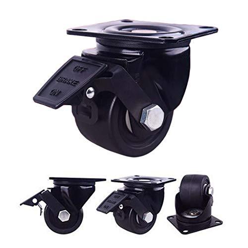 "YDYG Lenkrollen Möbelrollen (4Er Pack) Schwenkbare Hochleistungsindustrie Plattenrollen, Low Profile Plattenrollen Mit Bremse, Last 700Lbs,2"""