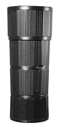 Polytank Modernes schwarz 150L Liter Rattan Effekt Designer-Regentonne mit passendem Ständer, umlenkventil, und Wasserhahn