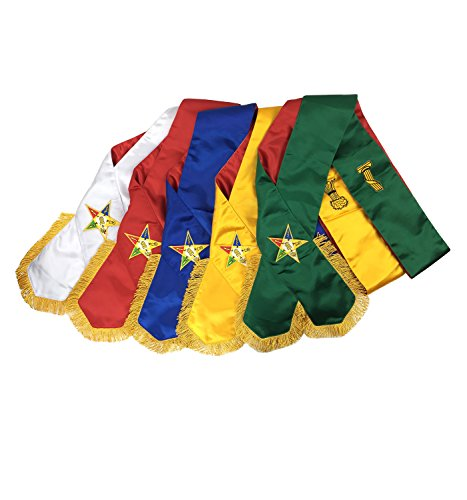 Unique Regalia Masonic Order of Eastern Star OES complete Sash Set -Set of 5 sashes MS030