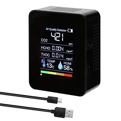 Medidor co2 KKmoon Medidor de Co2 Detector de CO2 portátil Detector de calidad del aire inteligente Probador de sensor de temperatura y humedad Monitor de dióxido de carbono TVOC HCHO
