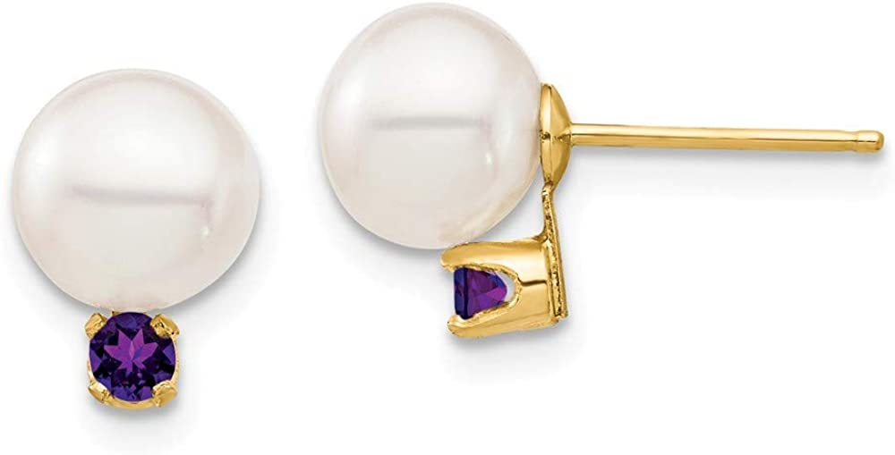 Solid 14k Yellow Gold 7-7.5mm White Round Freshwater Cultured Pearl Amethyst Purple February Gemstone Post Studs Earrings