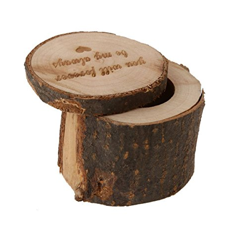Tinksky caixa de anel de madeira rústica para carregar alianças de casamento