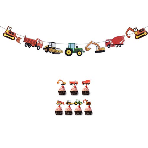 Construction Birthday Banner,Bulldozer Excavator Bunting Garland, Dump Truck Tractor Transportation Party Supplies for Boys ,Construction Theme Cupcake Toppers