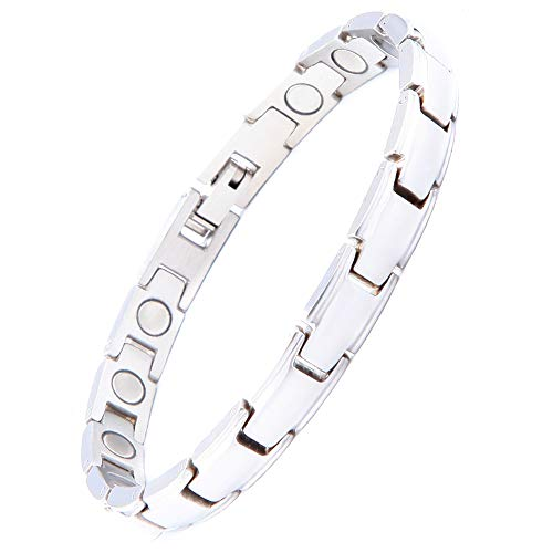 Magnetic Therapy Bracelet for Women Men Pain Relief for Arthritis and Carpal Tunnel Include Link Removal Tool Christmas Gifts(Sliver, Women)