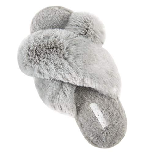 HALLUCI Women's Cross Band Soft Plush Fleece House Indoor or Outdoor Slippers (7-8, Grey)