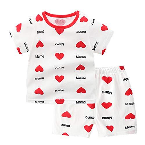 Fansu Pijamas de Manga Corta para Niños y Niña, Pijamas Dos Piezas Bebé Verano Suave y Cómoda Ropa Algodón de Ajuste Juego de Pijama Camisetas y Pantalones (100cm(36M),Amor Rojo)