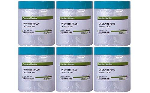 6 x Colorus Gewebeband Masker Tape PLUS | Abdeckfolie mit Gewebe-Klebeband 140 cm x 20 m | Abklebeband Gewebe-Klebestreifen mit Malerfolie für raue Oberflächen | Für Innen und Außen | Masker