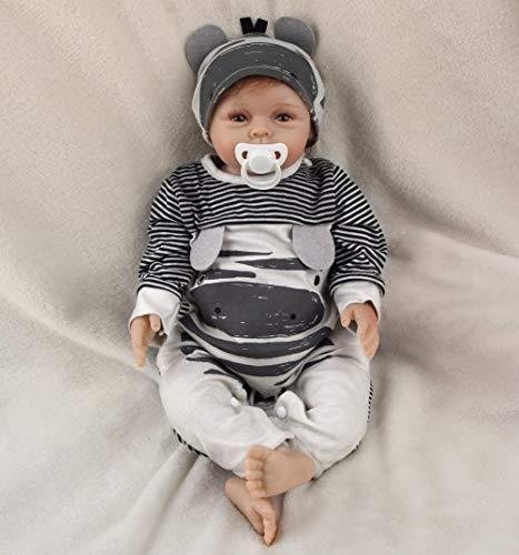 22 Zoll 55 cm Reborn Babypuppe Realistisch Neugeborene Reborn Silikon Weichkörper Lebensechtes Reborn Babys öffnen Augen Boy Reborn Puppen Kinder Mädchen Spielzeug Geschenke