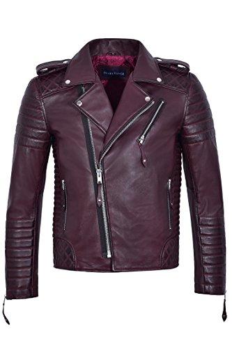 Brando Herren echte weiche Lederjacke Biker Style Kirsche gesteppt Slim Fit 2250 (XL)