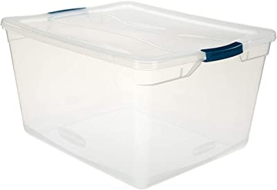 Rubbermaid Cleverstore Clear 71 QT Pack of 4 Stackable Large Storage Containers with Durable Latching Clear Lids