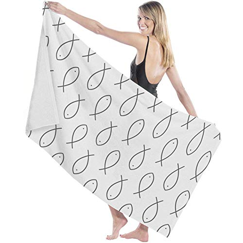 Toalla Beach Towels Toallas Shower Towels Bathroom Towels Patrón de pez simple gris,130CM X80CM