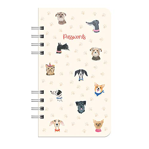 """Internet Password Hardcover Spiral Logbook by Studio Oh! - Doggone Cute - 4.5"""" x 8"""" Portable Spiral Hardcover Notebook with 144 Pages for Recording Usernames, Passwords & PINs and Alphabetical Tabbed Dividers"""