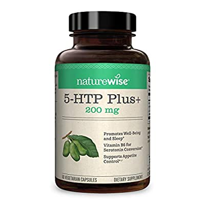 NatureWise 5-HTP Max Potency 200mg | Mood Support, Natural Sleep Aid & Helps Curb Appetite | Delayed Release Capsules Easy on The Stomach | Enhanced w/ Vitamin B6 | Non-GMO [2 Month Supply - 60 Count]