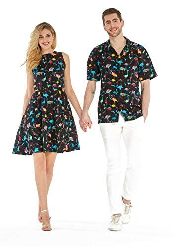 Couple Matching Hawaiian Luau Cruise Outfit Shirt Vintage Dress Flamingo Party Black White Men 2XL Women S