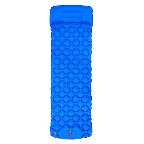 QWSA Colchón de Cama Plegable Ultraligero al Aire Libre colchón de Cama para Dormir con Almohada Picnic Inflable Almohadilla Manta a Prueba de Humedad Trekking (Color : Sky Blue)