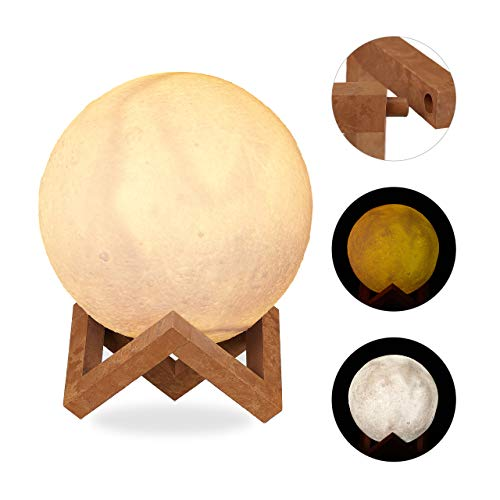 Relaxdays Mondlampe 3D, 2 Farben, dimmbar, Touch Sensor, kabellos, mit Ständer, für Kinder, Mondleuchte LED, 15 cm, weiß