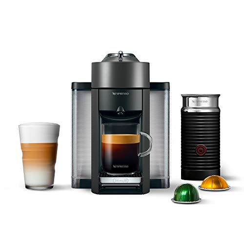 Nespresso ENV135GYAE Coffee and Espresso Machine Bundle with Aeroccino Milk Frother by De'Longhi, Graphite Metal