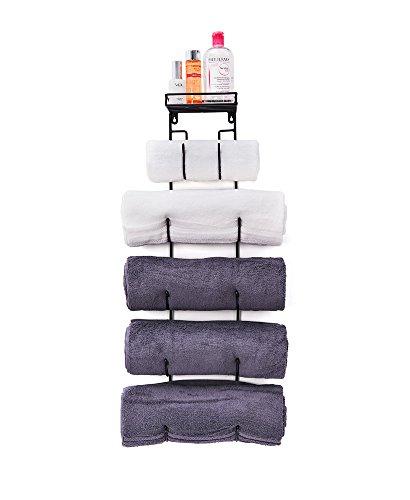 SODUKU Wall Mount Metal Wine/Towel Rack with Top Shelf