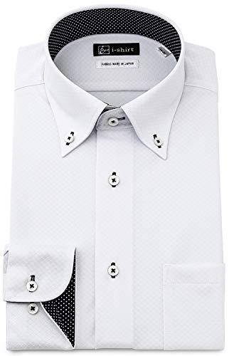 [アイシャツ] i-shirt 完全ノーアイロン ストレッチ 超速乾 スリムフィット 長袖 アイシャツ ワイシャツ メンズ ノンアイロン 036 ホワイト ボタンダウン ロンビック トリコット M15118007701 M82(首回り39cm×裄丈82cm)