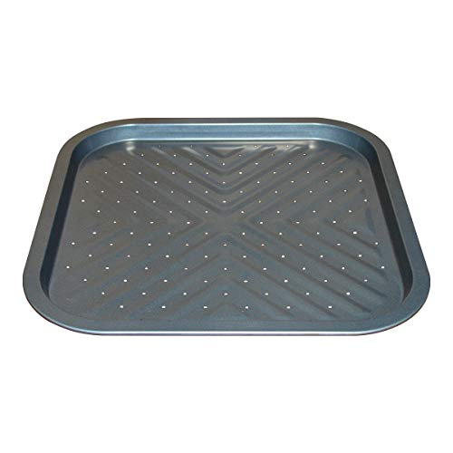 Nonstick Square Pizza Pan, 14 x14 Inch Carbon Steel Tray with Holes, Pizza Bakeware for Oven Baking Pizza,French Fries