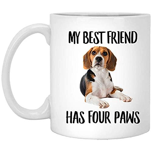 N\A Beagle Divertido acostado, mi Mejor Amigo Tiene Cuatro Patas, Taza de café Blanco de 11 onzas