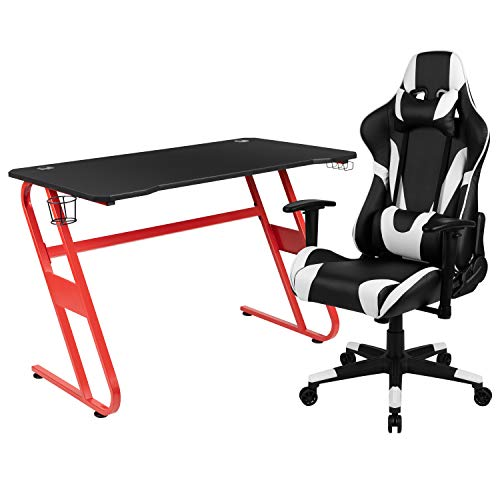 Flash Furniture Red Gaming Desk and Black Reclining Gaming Chair Set with Cup Holder and Headphone Hook Arkansas