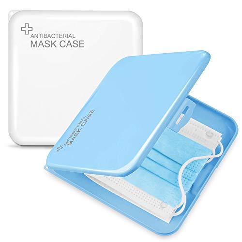 JEEZAO 2 Stück Aufbewahrungsbox Tragbare Kunststoffbox, Gesichtsabdeckungs-Aufbewahrungsbox,Wiederverwendbar Aufbewahrungsclips (Blau + Weiß)