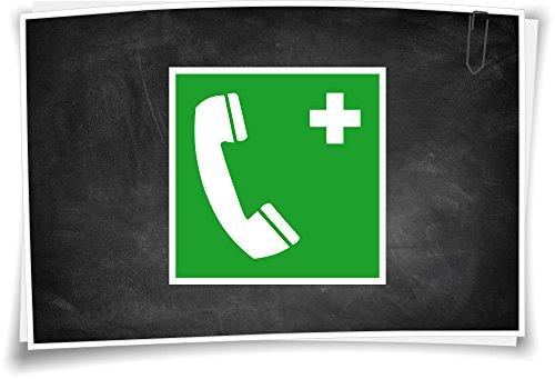 Medianlux Rettunszeichen E004 Notruftelefon Aufkleber Piktogramm Rettungshinweis Schild, 5cm - 3 Stück