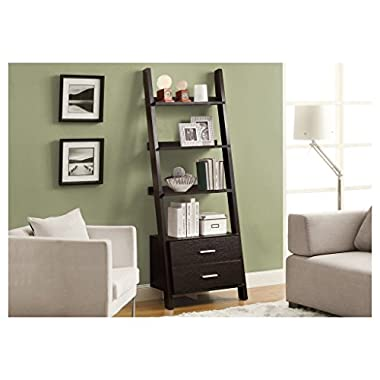 Monarch Specialties I 2542, Bookcase, Ladder with 2-Storage Drawers, Cappuccino, 69  H