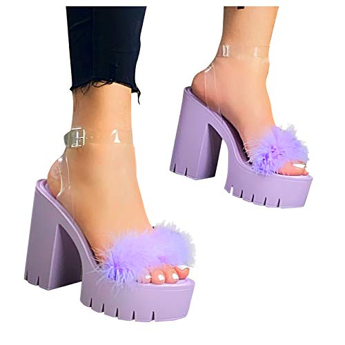 Aniywn High Heel Dress Platform Shoes for Women,Block Chunky Heel Sandals Ankle Strap Open Toe Faux Fur Sandals Purple