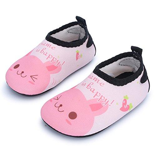 JIASUQI Baby Schuhe Schwimmen Wasser Schnell Trocknende Enge Fit Strand Pool Surfen Barfuß Socken, Pinke Katze 18-24 Monate